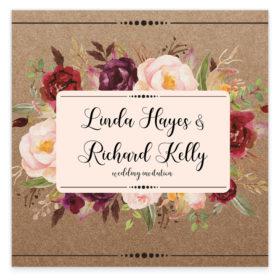 Burgundy Boho Flat Wedding Invitation sample
