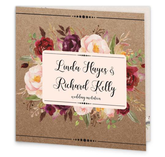 Burgundy Boho Folding Wedding Invitation sample