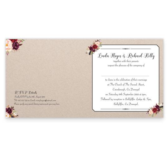 Burgundy Boho Folding Wedding Invitation