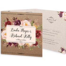 Burgundy Boho Tri-fold wedding invite & rsvp sample