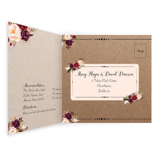 Burgundy Boho Tri-fold wedding invite & rsvp