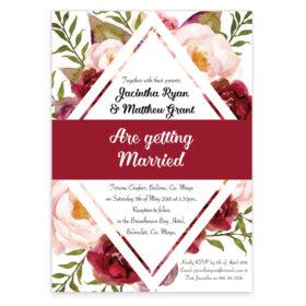 Burgundy diamond wedding invitation sample