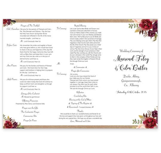 Burgundy Boho Ceremony Booklet