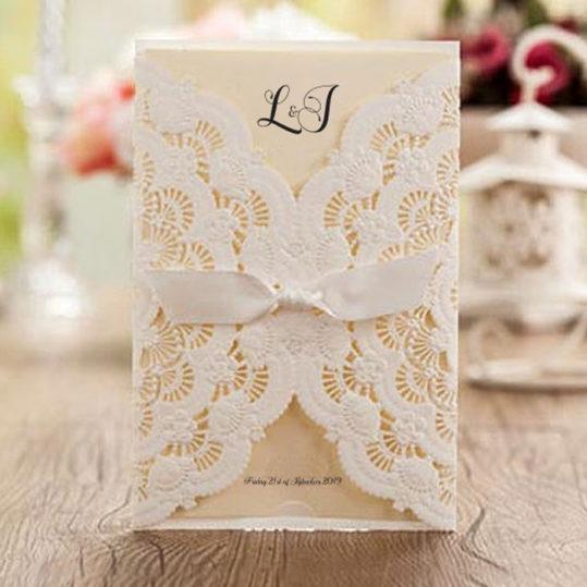 Floral Lace Laser Cut Wedding Invitation sample