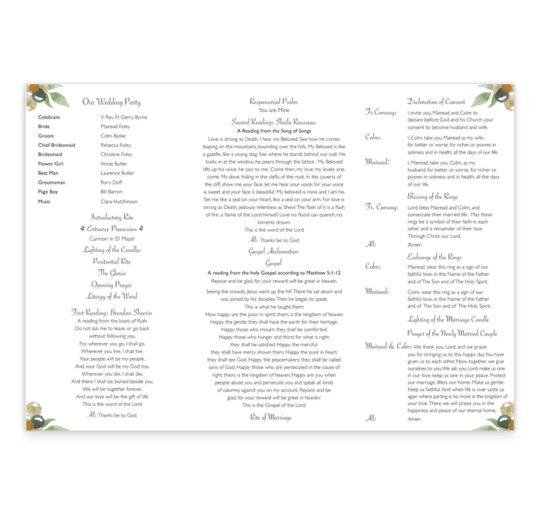 Beautiful Botanical Ceremony Booklet