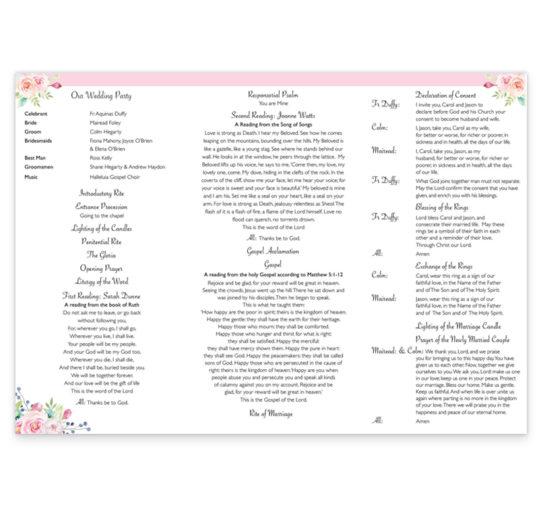 Summer Blossom Wedding Ceremony Booklet