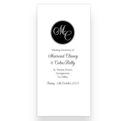 Tri-fold Wedding Ceremony Booklet Sample