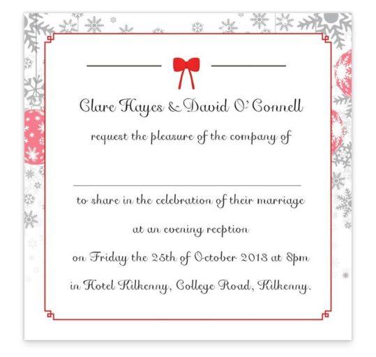 Christmas Tandem Couple Evening Invitation