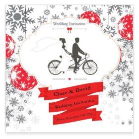 Christmas Tandem Couple Flat wedding Invite