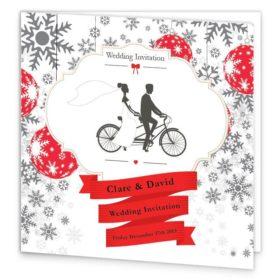 Christmas Tandem Couple Folding wedding invite Sample
