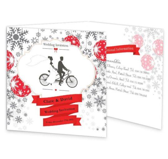 Christmas Tandem Couple Tri-fold wedding invite Sample