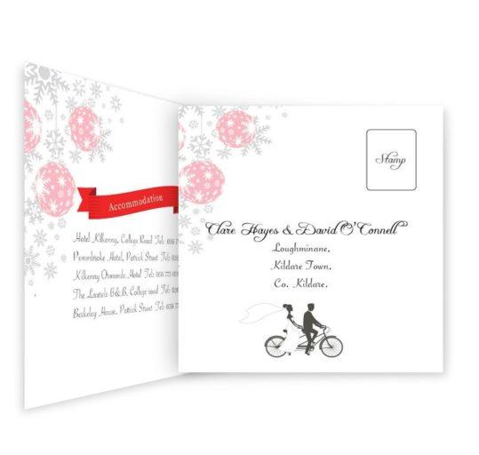 Christmas Tandem Couple Tri-fold wedding invite & rsvp Sample