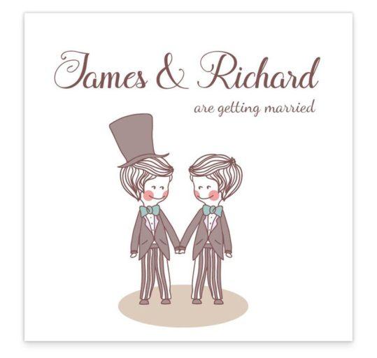 Mr & Mr Flat Wedding Invitation Sample