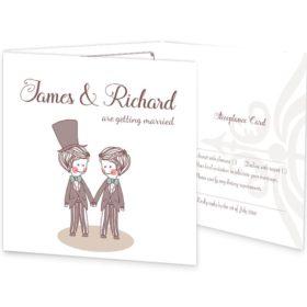 Mr & Mr Tri-fold wedding invite & rsvp