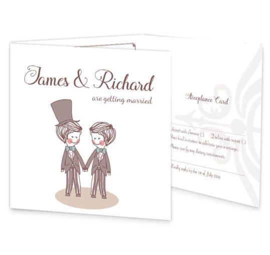 Mr & Mr Tri-fold wedding invite & rsvp sample