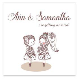 Mrs& Mrs Flat Wedding Invitation Sample
