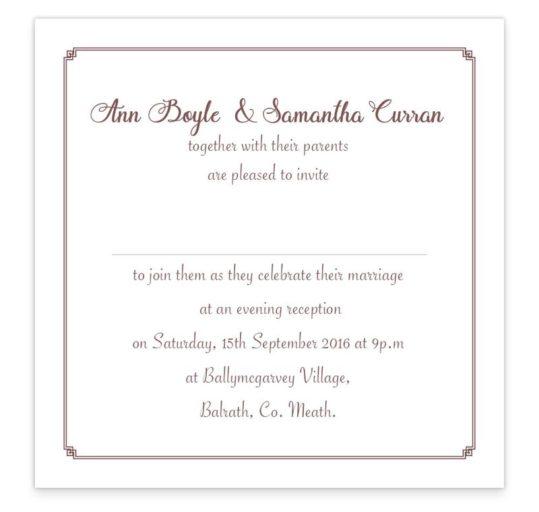 Mrs & Mrs Evening Invitation