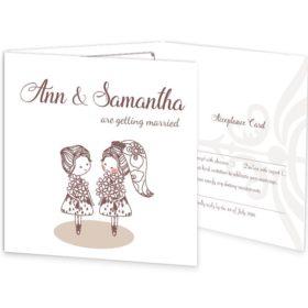 Mrs & Mrs Tri-fold wedding invite & rsvp sample
