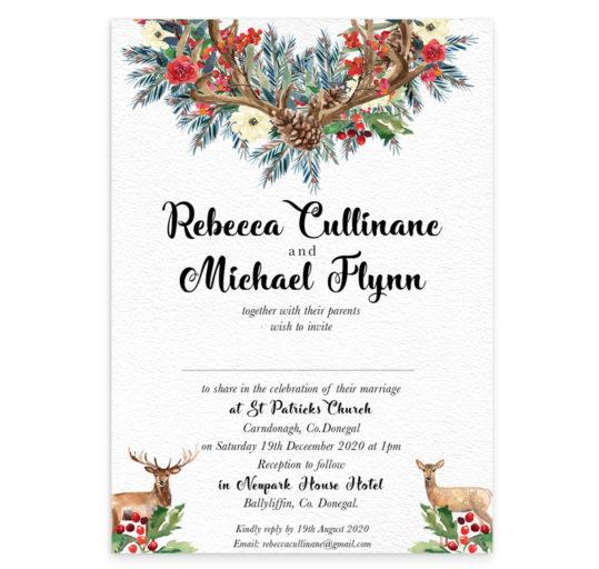 Deer Love Flat Wedding Invitation