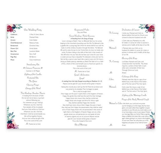 Delicate Bloom Ceremony Booklet