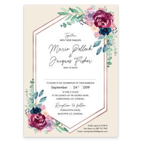 Delicate Bloom in Colour Wedding Invitation sample