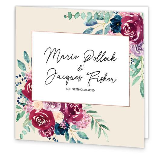 Delicate Bloom in Colour Folding Wedding Invitation
