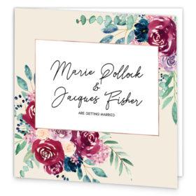 Delicate Bloom in Colour Folding Wedding Invitation sample
