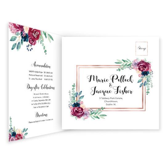 Delicate Bloom Tri-fold wedding invite & rsvp
