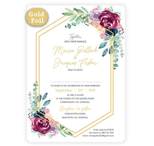 Delicate Gold Bloom Wedding Invite