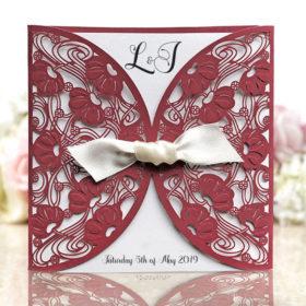 Burgundy Laser Cut Wedding Invitation