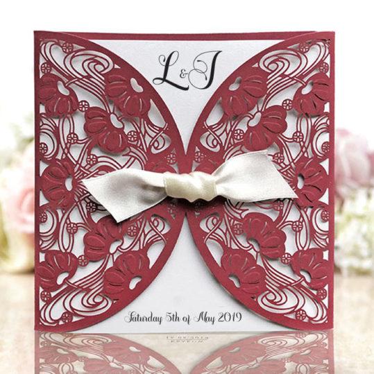 Burgundy Laser Cut Wedding Invitation sample