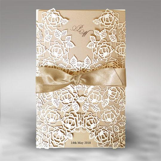 Opulent Laser Cut Wedding Invitation sample