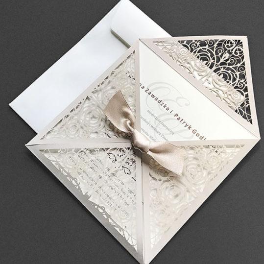 Floral 4 Fold Laser Cut Wedding Invitation sample