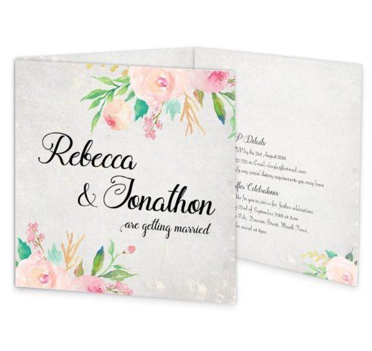 Floral Beauty Tri-fold wedding invitation sample