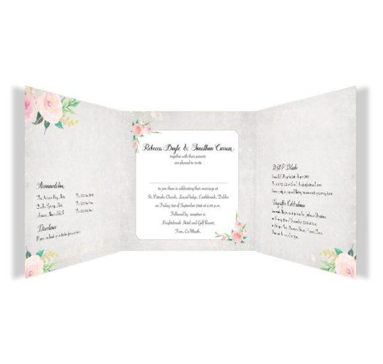 Floral Beauty Tri-fold wedding invitation