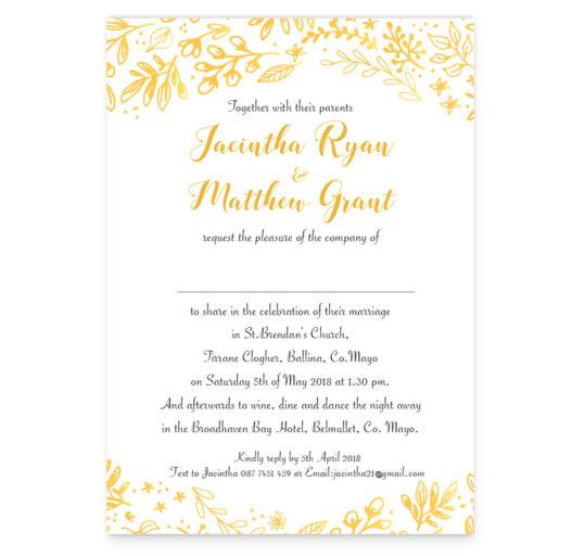 Floral Foil Wedding Invite Sample