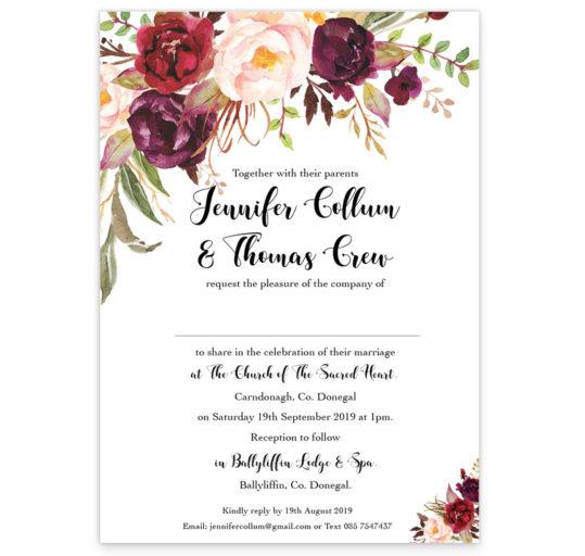 Floral Love Flat Wedding Invitation sample