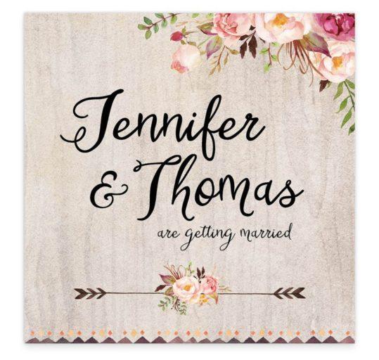 flowering affection flat wedding invitation sample