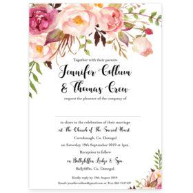 Flowering Affection Wedding Invitation Rectangular sample