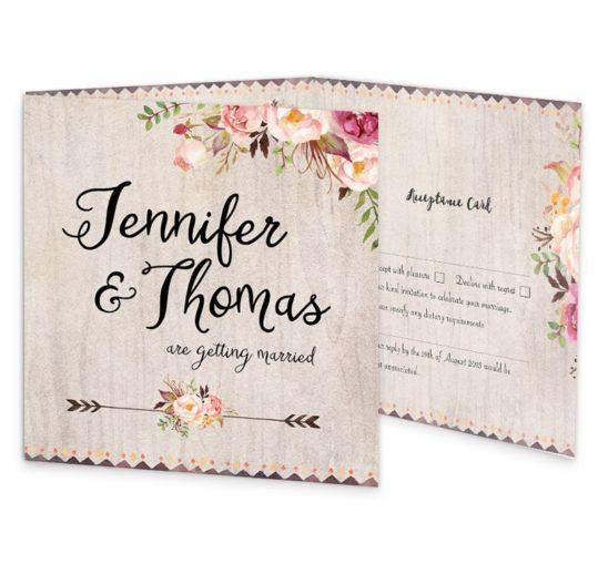 Flowering Affection wedding invite & rsvp sample