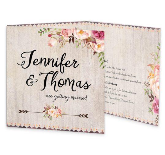 Flowering Affection Tri-fold wedding invitation