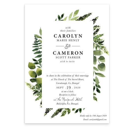 A Sunny Forest Flat Wedding Invitation sample