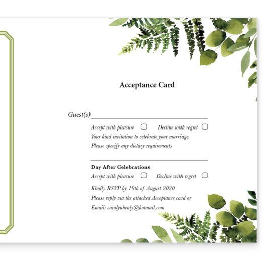 Sunny Forest Tri-fold wedding invite & rsvp