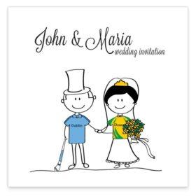 GAA Flat wedding invitation – Donegal vs Dublin Sample