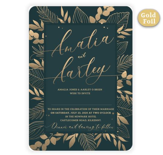 Gold Foil Foliage Wedding Invite sample