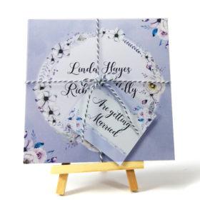 Lilac Love Tri-fold wedding invite & rsvp sample