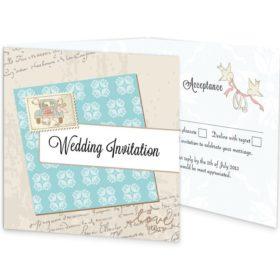 Love Story Tri-fold Wedding Invite & RSVP Sample