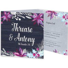Merry and Light Tri-fold winter wedding invitation Sample