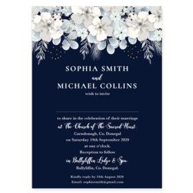 Blooming Navy Wedding Invitation