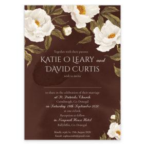 Noble White Peonies Flat Wedding Invitation